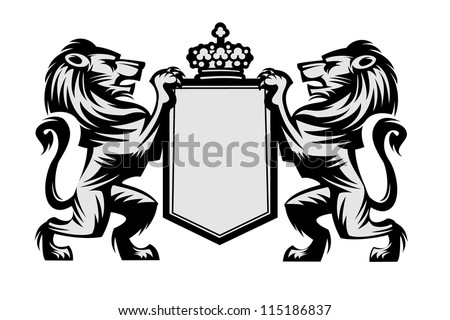 Coat of arms with lions - stock vector