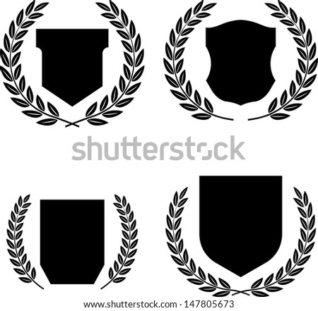 Coats of arms, shields and laurel wreaths vector - stock vector