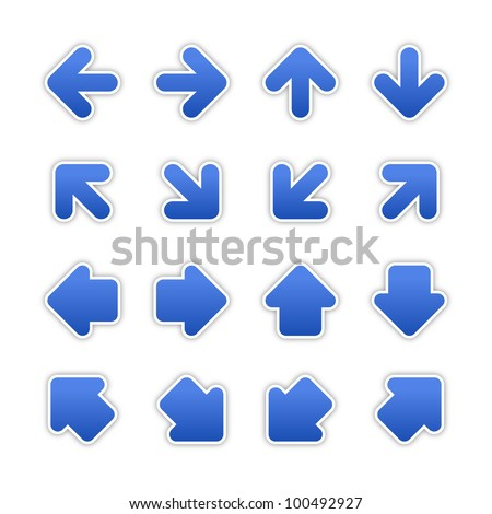 Cobalt arrow sign sticker web button. Blank satin shapes with gray drop shadow on white background. Vector illustration saved in EPS 10. - stock vector