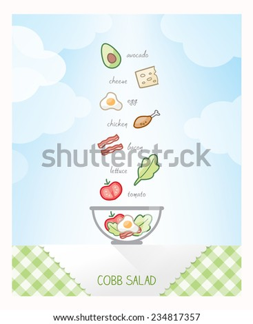 Cobb salad recipe with ingredients falling in a bowl on a checked tablecloth, sky on background - stock vector