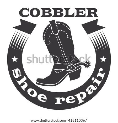 Cobbler, shoe repair. Cowboy boots with spurs, ribbon. Vector illustration. - stock vector
