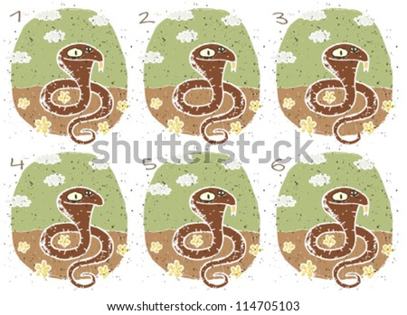 Cobra Puzzle ... Task: Find two images that are alike! (match pairs); Answer: No. 1 and 6. - stock vector