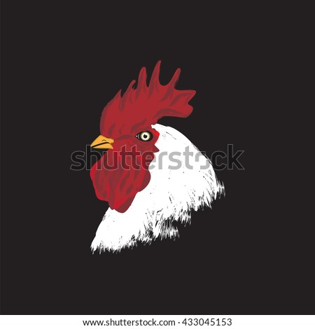 cock head white red comb isolated modern creative art abstract vector illustration background black logo design element eco-friendly products - stock vector