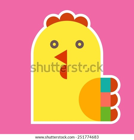 Cock illustration on purple background - stock vector