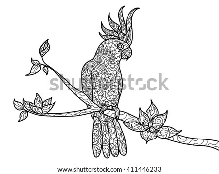 Cockatoo parrot bird coloring book for adults vector illustration. Zentangle style. Black and white lines. Lace pattern - stock vector