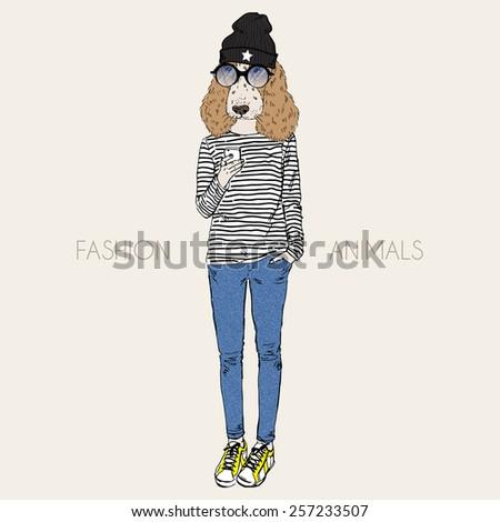 cocker spaniel doggy girl hipster - stock vector