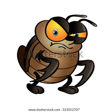 Cockroach Cartoon - Vector Image Of a Angry Cockroach Standing - stock vector