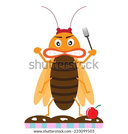 cockroach monster prepare eating the dinner. cartoon vector illustration - stock vector