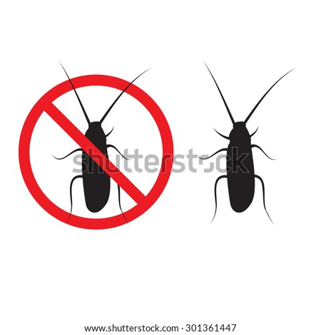 cockroach silhouette illustration on a white background. insect prohibition sign, cockroach prohibition sign - stock vector