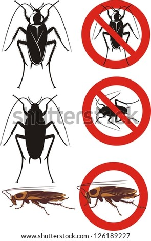 cockroach - warning signs - stock vector
