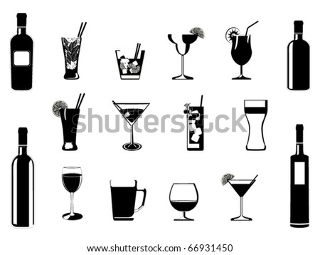 Cocktail and drinking glasses and bottles vector - stock vector
