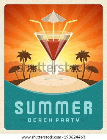 Cocktail beach party summer holidays vector poster or background.  - stock vector