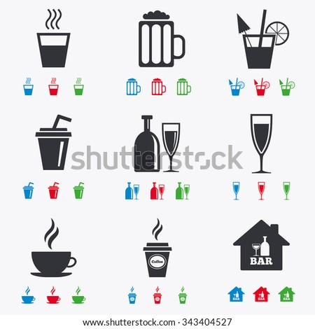 Cocktail, beer icons. Coffee and tea drinks. Soft and alcohol drinks symbols. Flat black, red, blue and green icons. - stock vector
