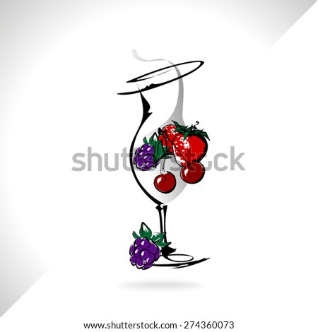 Cocktail drink fruit - stock vector