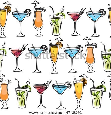 Cocktail drinks vector illustration pattern - stock vector