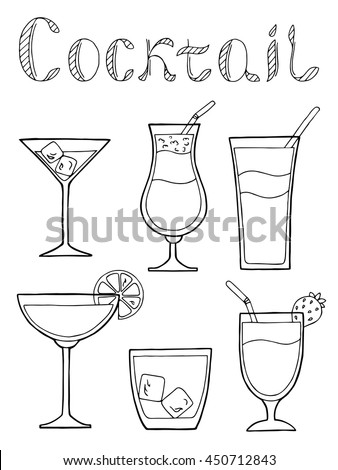 Cocktail glass drink set text graphic art black white isolated illustration vector - stock vector