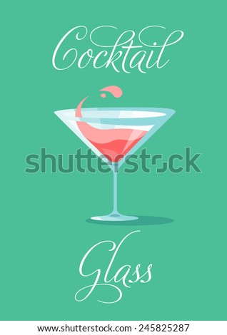 Cocktail Glass, flat simple background - stock vector