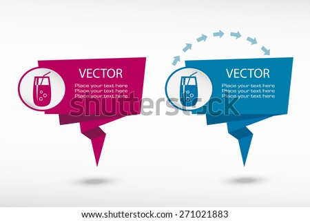 Cocktail glass with drinking straw on origami paper speech bubble or web banner, prints. Vector illustration - stock vector