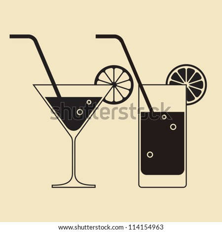 Cocktail glasses - stock vector