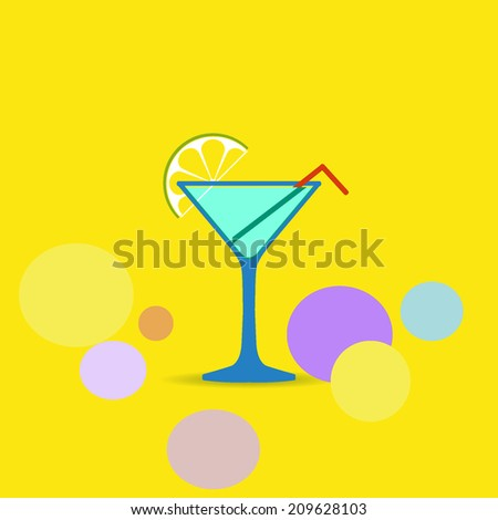 cocktail icon, abstract background design - stock vector
