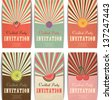 cocktail invitations, set of summer cards, labels with fruits - stock vector