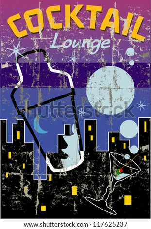 Cocktail lounge promotional design, free copy space, grungy vintage style - stock vector