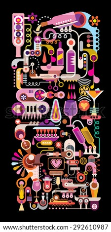 Cocktail Machine vertical colorful vector illustration. Isolated on black background.  - stock vector
