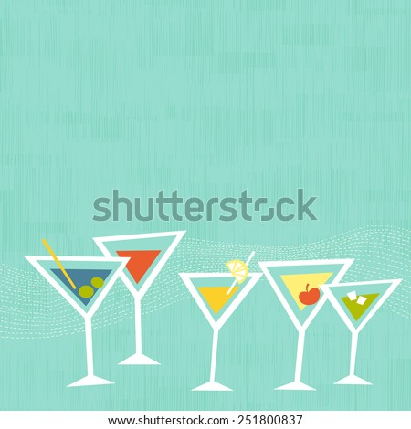 Cocktail martini glasses on mint background. Space for copy/text. Layered vector file, for easy manipulation - stock vector