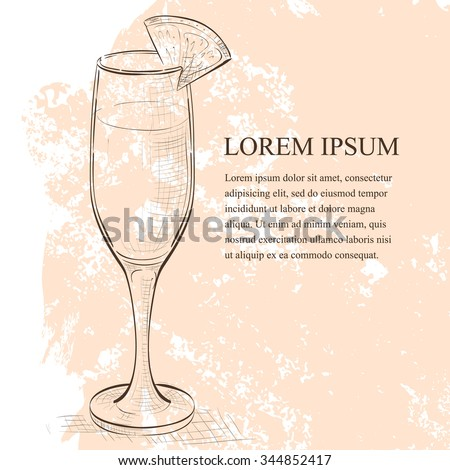 Cocktail Mimosa scetch with Champagne, orange juice, orange - stock vector