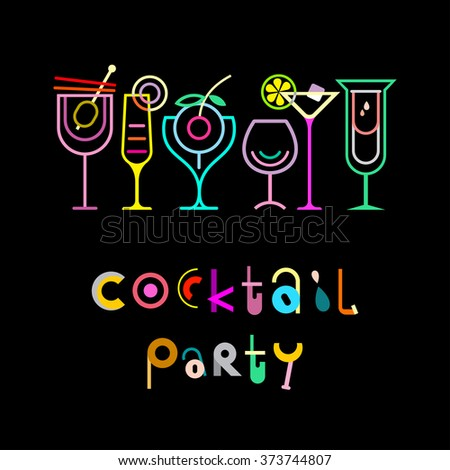 Cocktail party - decorative text architecture on a black background. Cocktail party invitation vector poster. - stock vector