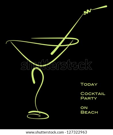 Cocktail party. Green silhouette of alcohol cocktail in glass with straw on black. Vector eps10 illustration. Raster file included in portfolio - stock vector