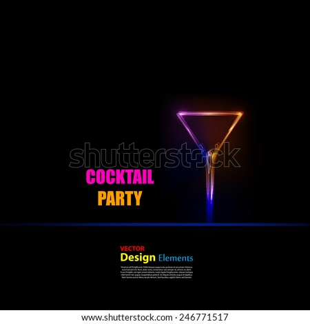 cocktail party light design background, easy editable - stock vector