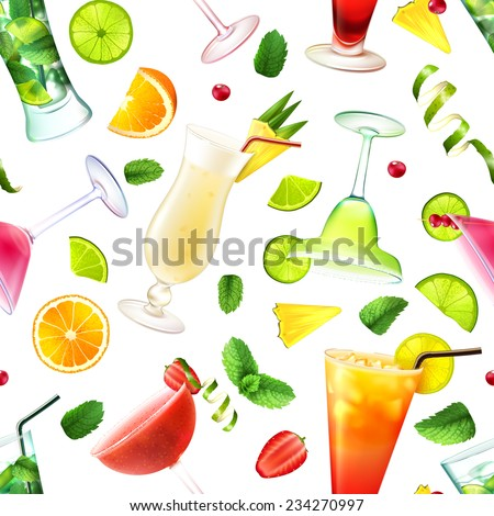 Cocktail seamless pattern with alcohol drinks in glasses and decoration vector illustration - stock vector