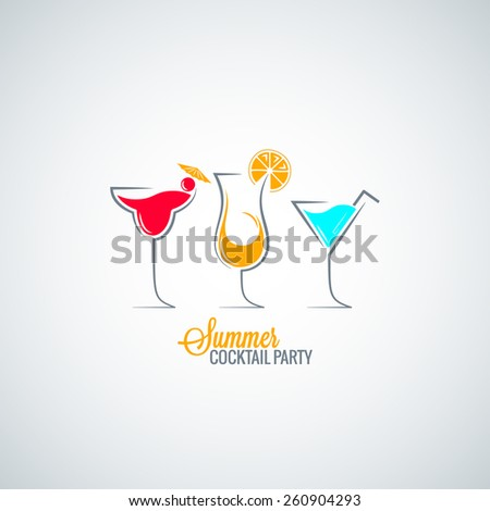 cocktail summer party menu background - stock vector