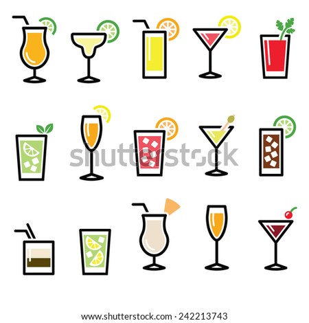 Cocktails, drinks glasses vector icons set  - stock vector