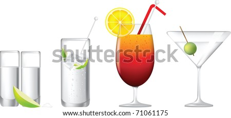 cocktails, gin and tonic, tequila sunrise, martini and tequila shot - stock vector