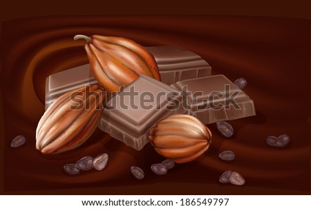 cocoa fruit and chunks of chocolate on a chocolate background - stock vector