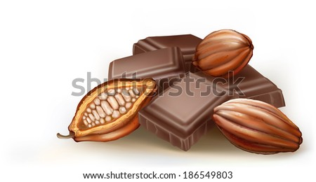 cocoa fruit and chunks of chocolate on a white background - stock vector