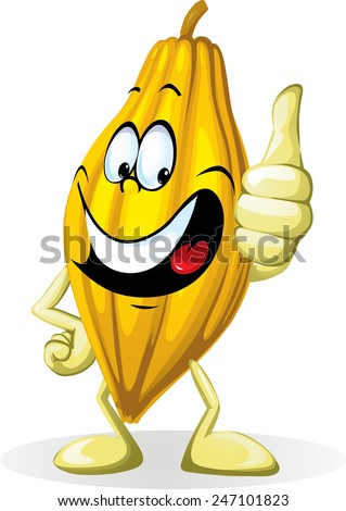 Cocoa pod illustration character isolated on white background with thumb up - stock vector