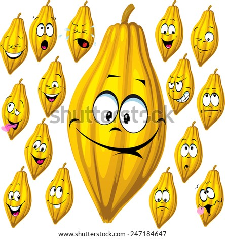 cocoa pod with many facial expressions isolated on white background - stock vector