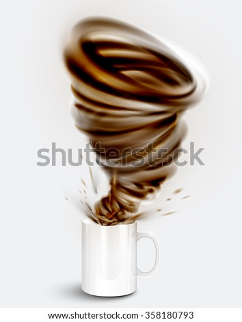 Cocoa yogurt/drink in a cup, realistic vector illustration - stock vector