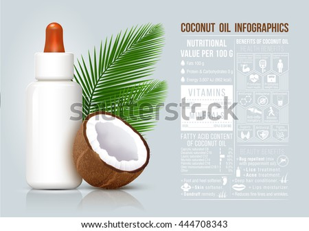 Coconut oil infographic, coconut oil benefits, food infographic, healthy fruit, cosmetic bottle. - stock vector
