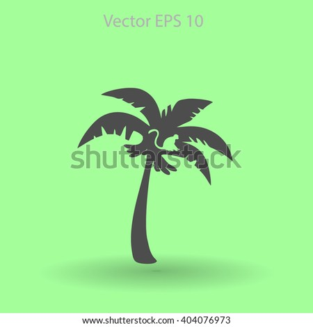Coconut palm tree black vector illustration - stock vector