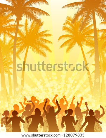 Coconut palm trees and people dancing with the sun. - stock vector
