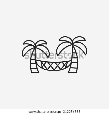 Coconut tree hammock line icon - stock vector