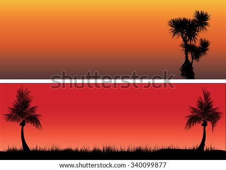 coconut trees and pandanas in the sunset - stock vector