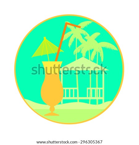 Coctail and tropical landscape in orange round frame.Vector illustration - stock vector