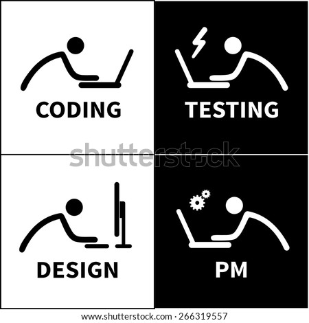 Coder, quality assurance specialist, project manager and web designer icons set. Vector - stock vector