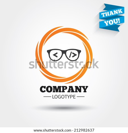 Coder sign icon. Programmer symbol. Glasses icon. Business abstract ...