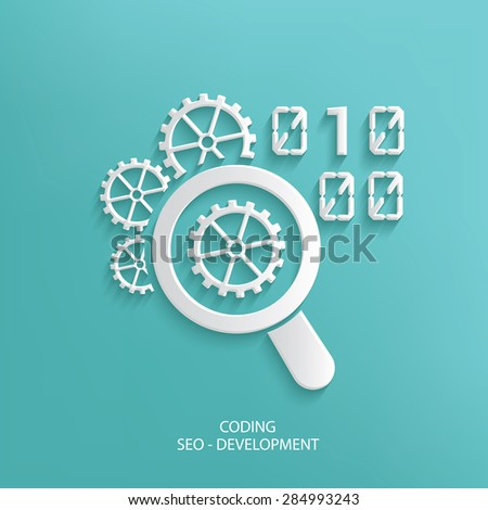 Coding design on blue background,clean vector - stock vector